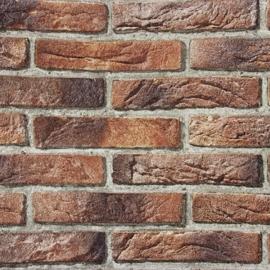 steenstrips bruin rood 3d effekt behang  x101