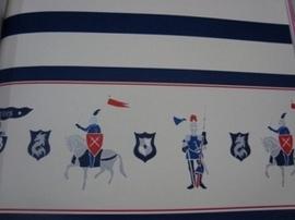 rood grijs blauw ridder paarden ridders behangrand 63