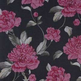 bloemen behang roze zwart 118