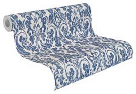 barok behang vintage blauw 516241