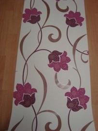paars oudroze bloemen glinster vinyl behang 103