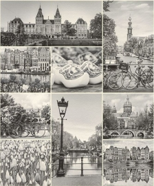 Rasch Tiles and More 880014 Behang Holland Zwart/Wit