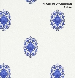 BN The Gardens of Amsterdam 46152 off-white blauw behang