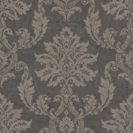 BAROK BEHANG PERSIAN DAMASK ANTRACIET GOUD XXX59