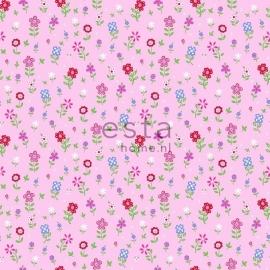 Esta Giggle 137318 roze rood groen blauw bloemen behang