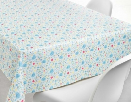 150-063 blauw rood geel bloemen tafelzeil