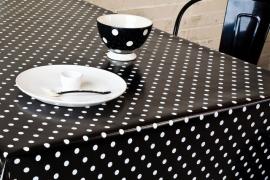 150-041 zwart wit stippen tafelzeil