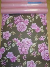 bloemen behang paars roze bruin 76
