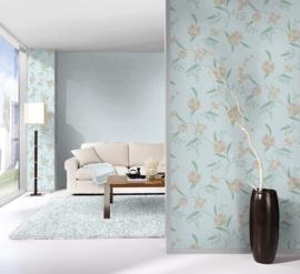 bloemen behang blauw 798814