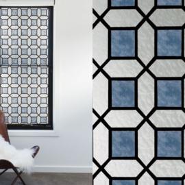 raam decoratie blauw ruiten glas in lood xx013