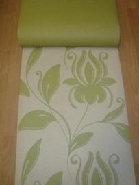 creme groen bloemen vlies behang d00125