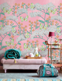 Eijffinger Rice 2 Wallpower 383619 Butterflies and Flowers Pink