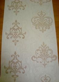 creme bruin barok vlies behang met glinster 051
