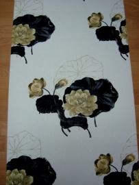 zwart goud bloemen behang 00021