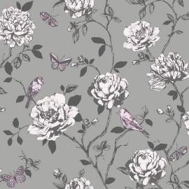 rasch amour bloemen vogel glitter behang 204346