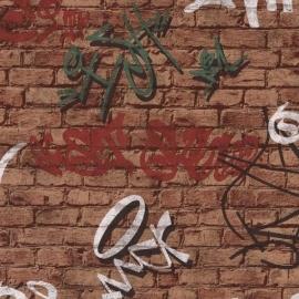05601-10 graffiti steenstrips bruin behang