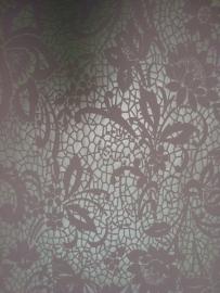 bloemen behang roze wit kant 46750