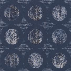 Retro behang blauw 862232