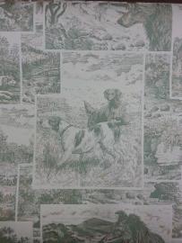 819823 speurhonden groen creme honden behang