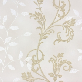 Rasch Diamond Dust 450521 bloemen wit beige goud glitter