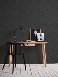 Beton behang zwart 37417-1