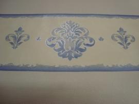 blauw creme modern bloemen behangrand