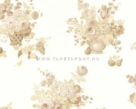 Bloemen behang wit goud 6785-46