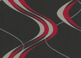 retro behang the 70's rood zwart xx88