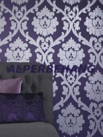 barok behang paars zilver parelmoer 294