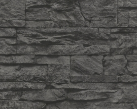 707116 grijs zwart steen vlies behang