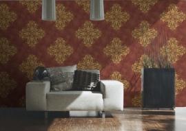 barok behang lambrisering rood goud 95473-6
