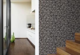 3a steen A.S. Création Wood'n Stone Grijs, Zwart Natuurlijk Behang