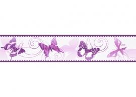 901224 behangrand vlinder paars
