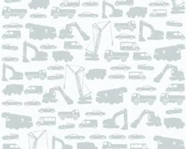 bouwvoertuigen vrachtwagen auto kraanwagen brandweer behang 35815-1