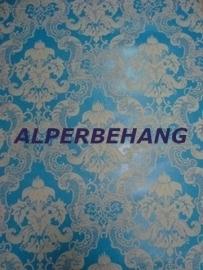 barok vinyl  behang blauw wgrijs 414