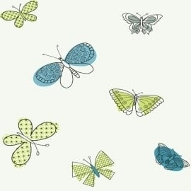 York Girl Power II Butterfly behang PW4014 ,  wit, groen, blauw, grijs, zwart