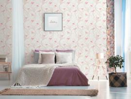 vogel behang roze 36623-3