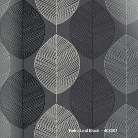 RETRO LEAF BLACK BEHANG - Arthouse Options 408201