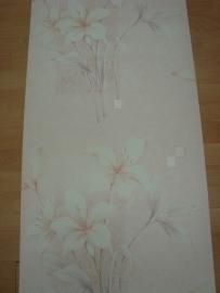 creme beige ecru  bloemen 3d vinyl behang 13