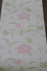 bloemen behang roze zilver wit groen xr34
