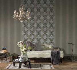 Barok behang zilver glitter 34860-3