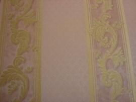 klassiek behang roze goud bloemen streepjes behang 4