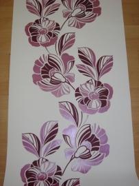 behang bloemen vlies wit roze paars 0596