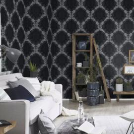 Barok behang zwart wit glitter xxx124