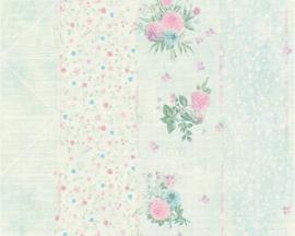 blauw streepjes bloemen behang 35878-2
