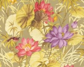 goud roze paars bloemen vogels vinyl behang 3d 7797-31