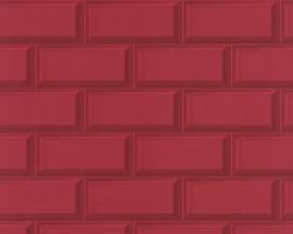 879936 steenstrips steen rood tegel behang