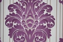 barok behang paars met strepen 138