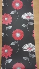 moderne bloemen behang rood wit