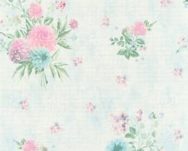 blauwe bloemetjes behang 35873-2